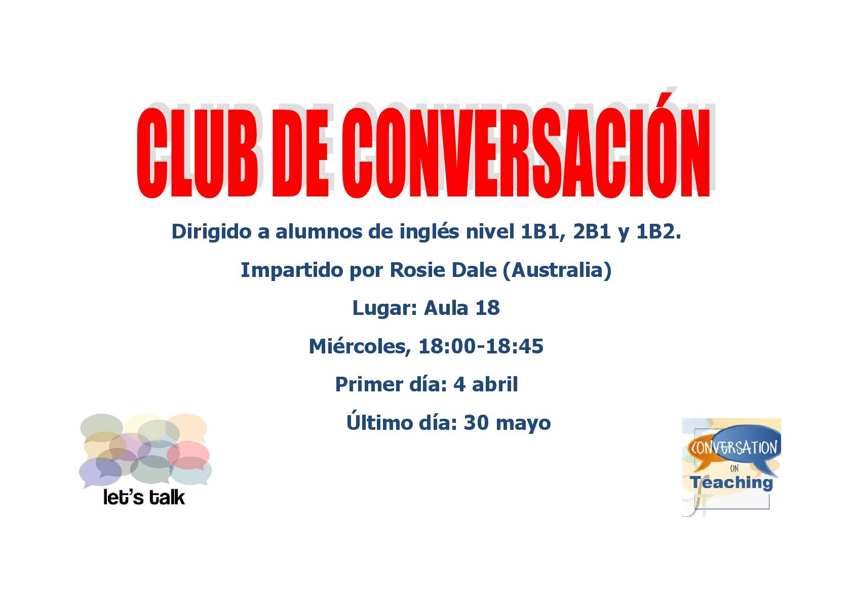 CLUB CONVERSACIÓN 001 - Nuevo club de conversación de inglés para 1B1, 2B1 y 1B2