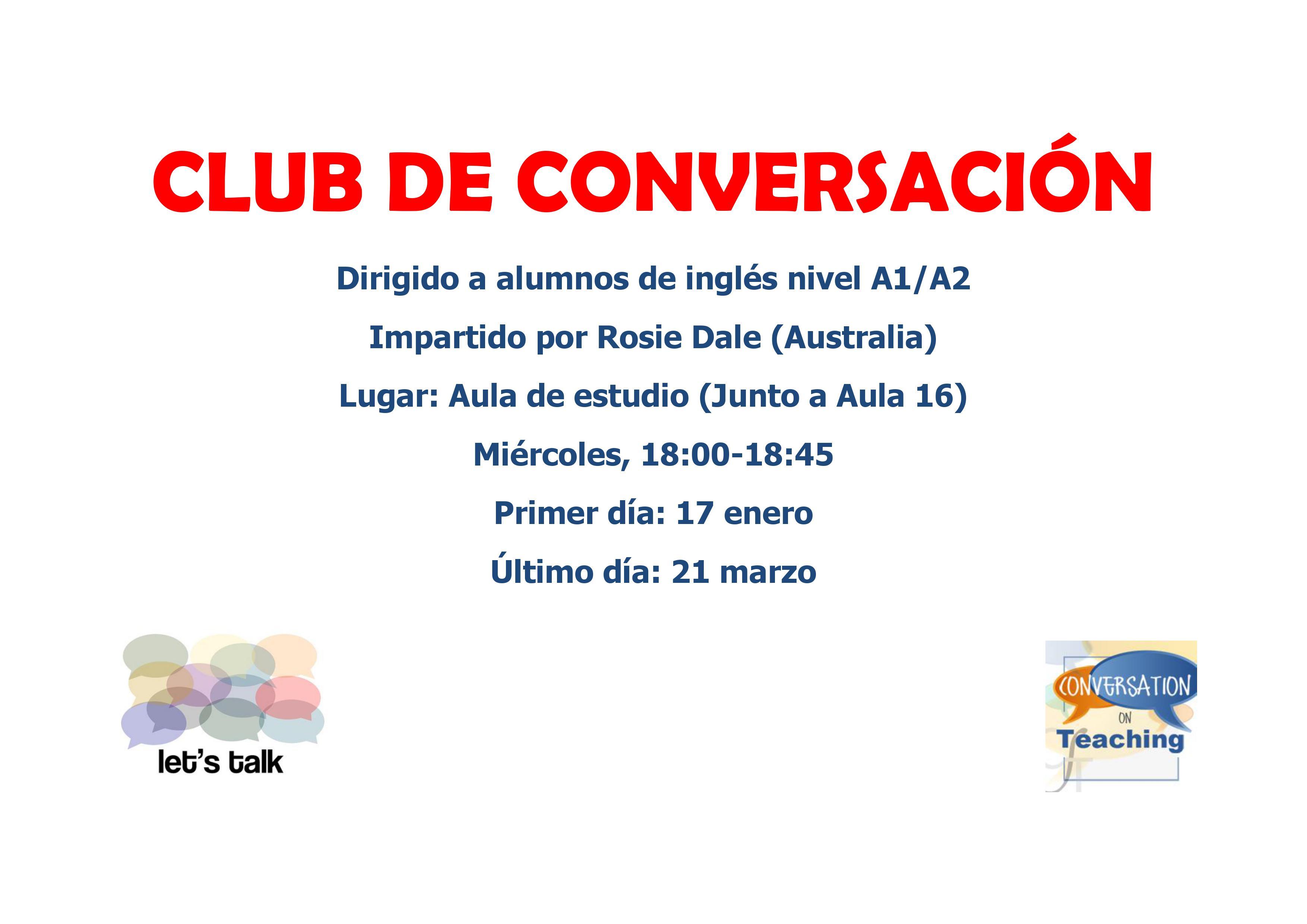 TALLER DE CONVERSACIÓN  - Nuevo club de conversación de inglés para A1 y A2