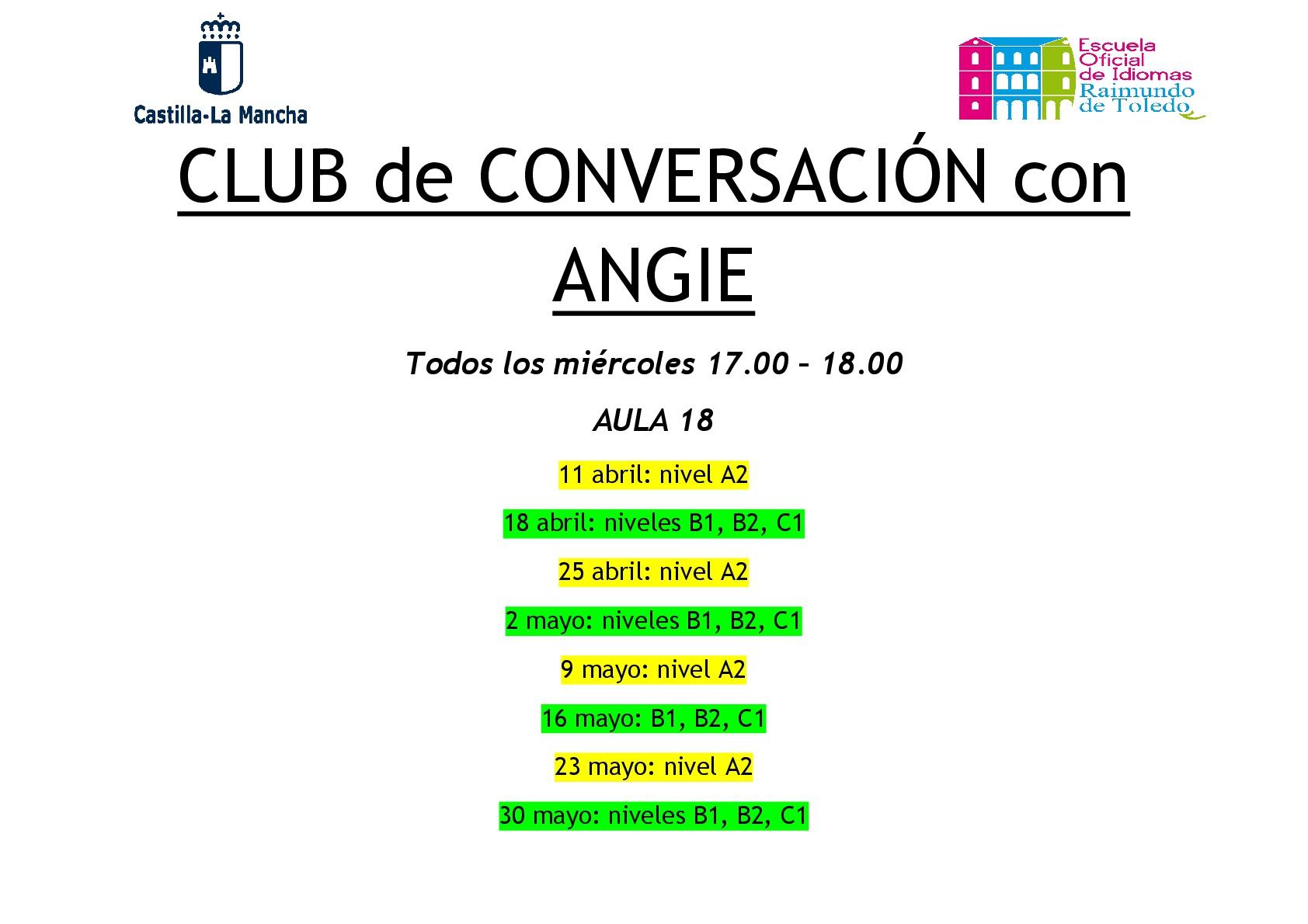 Club de Conversación Lectora Angie 001 - Club de Conversación con nuestra auxiliar de francés, Angie