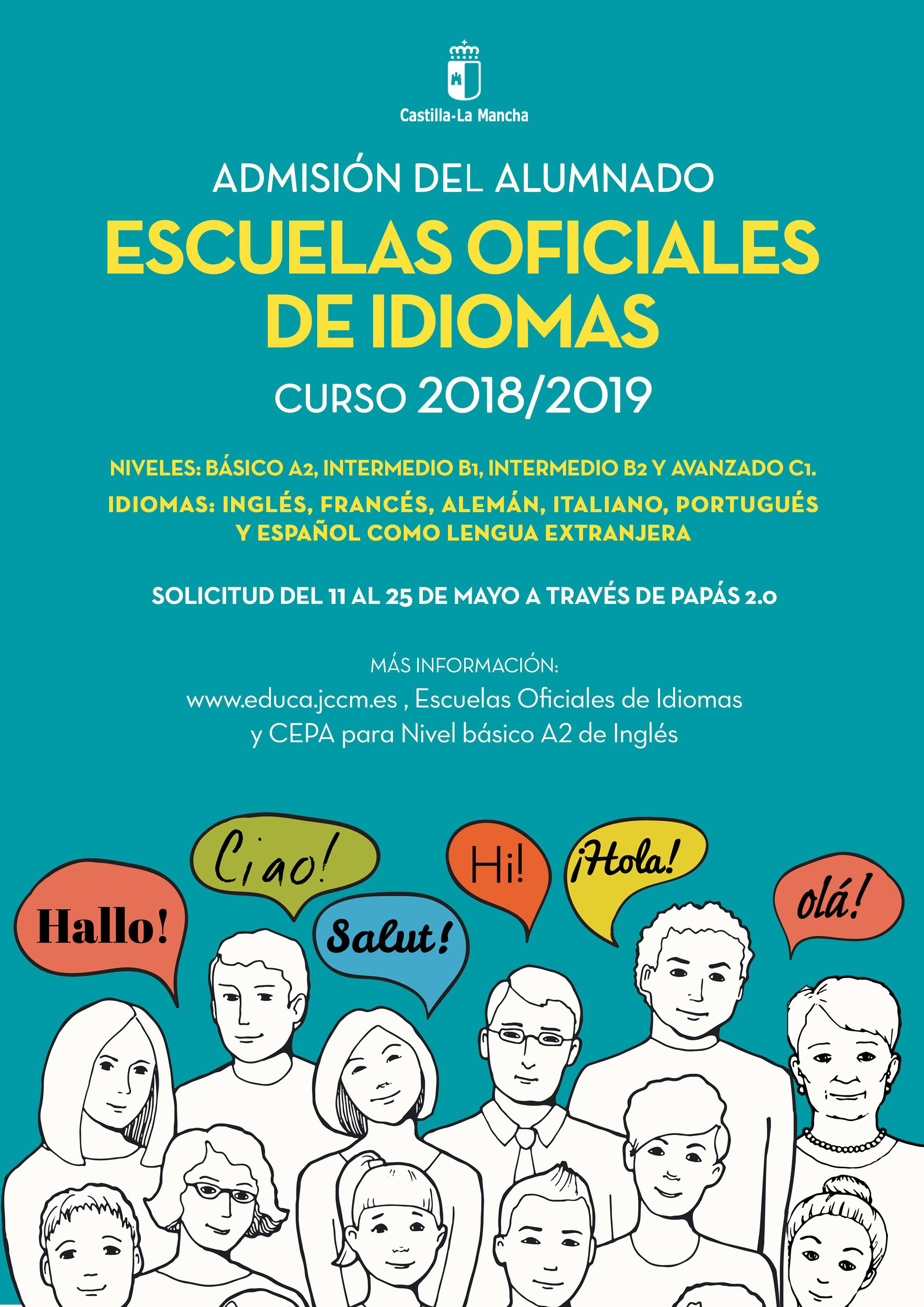 Cartel EOI 2018 - Solicitud de plaza para el curso 2018-19