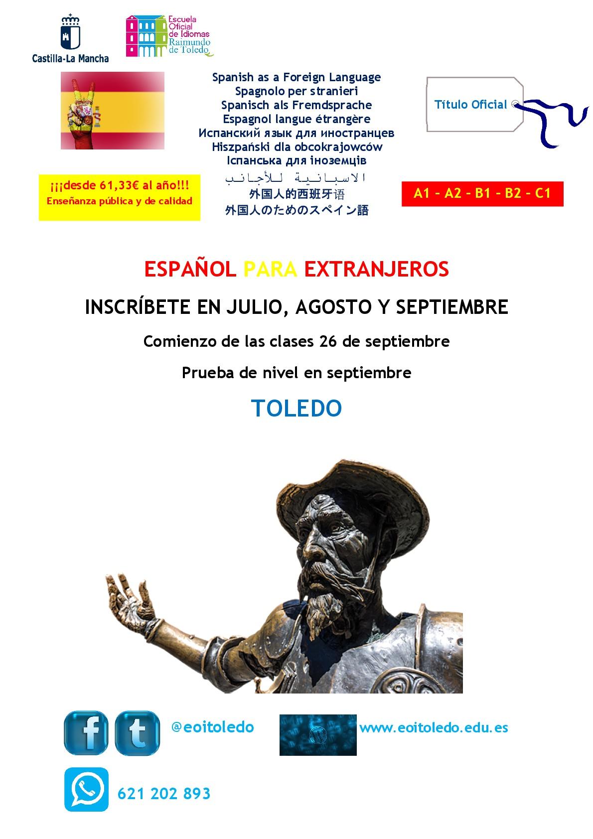 Spanish as a Foreign Language 001 - Aprende Español en nuestra EOI - comienzo 26 de septiembre