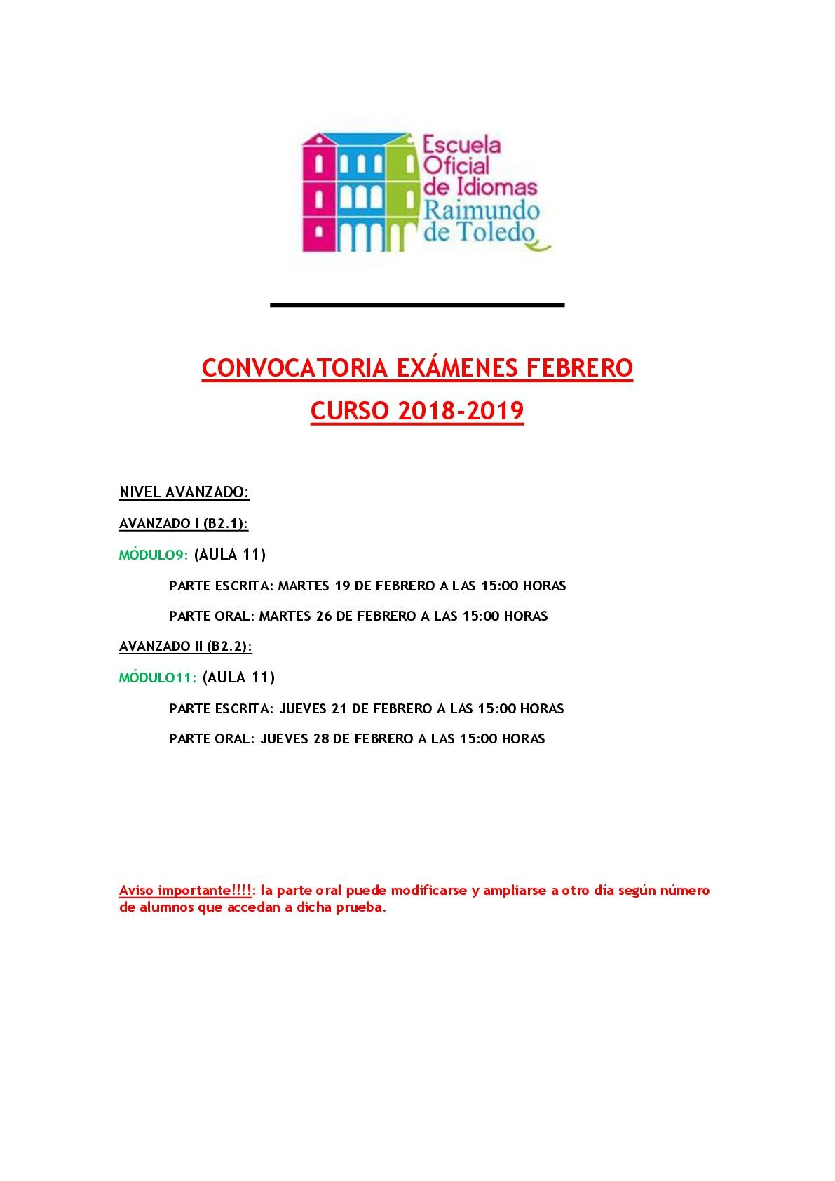 CONVOCATORIA FEBRERO2019 002 - Exámenes That's English! Febrero 2019