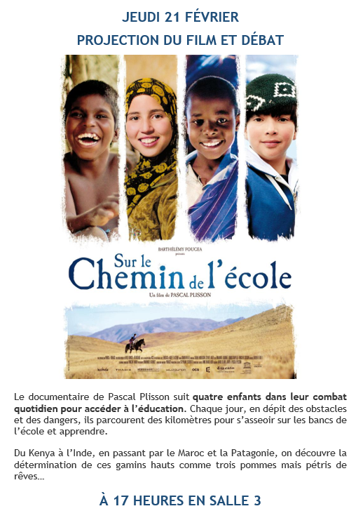 "Captura - Jueves 21 de febrero - Cineclub en francés - ""Sur le chemin de l'ecole"" (aula 3)"