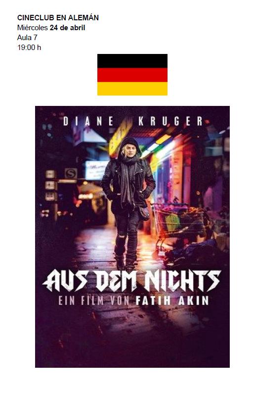 """DEUTSCH - """"AUS DEM NICHTS"""" Cineclub en alemán - 24 abril a las 19:00 en el aula 7"""